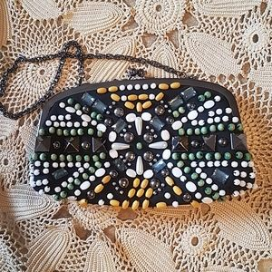 Bloomingdale's Beaded clutch with chain
